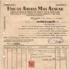 Facturas antiguas: HIJO DE ANDRES MAS ADSUAR , FABRICA TEJIDOS ESPARTO,COCO, YUTE / CREVILLENTE /ALICANTE 1942. Lote 220480823