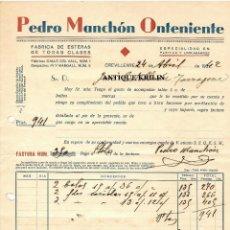 Facturas antiguas: PEDRO MANCHON ONTENIENTE , FABRICA DE ESTERAS / CREVILLENTE /ALICANTE 1942. Lote 220481650