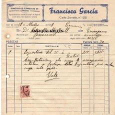 Facturas antiguas: FRANCISCO GARCIA / COMERCIO ALPARGATAS DE ESPARTO /VALL DE UXÓ /CASTELLON 1948. Lote 220484395