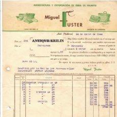 Facturas antiguas: MANUFACTURA Y EXPORTACION DE OBRA DE PALMITO / MIGUEL FUSTER /ARTÁ.- MALLORCA 1948. Lote 220669632