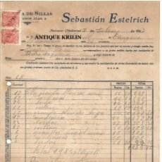 Facturas antiguas: FABRICA DE SILLAS .- SEBASTIAN ESTELRICH .- MANACOR , MALLORCA 1947. Lote 220670627