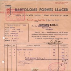 Facturas antiguas: FABRICA DE CAPAZOS .- BARTOLOME FORNES LLACER .- GATO DE GORGOS / ALICANTE 1948. Lote 220670922