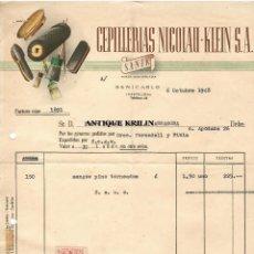 Facturas antiguas: CEPILLERIAS NICOLAU - KLEIN S.A .- BENICARLO / CASTELLON 1948. Lote 220674131