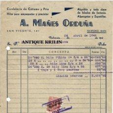 Facturas antiguas: CORDELERIA DE CAÑAMO Y PITA A. MAÑES ORDUÑA / VALENCIA 1948. Lote 220696447
