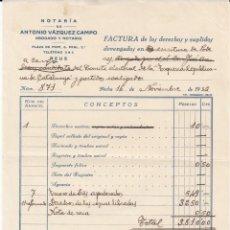 Facturas antiguas: REUS FACTURA NOTARIAL DE PODERES A CARGO DE ESQUERRA REPUBLICANA DE CATALUNYA -1932. Lote 221283881