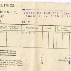 Facturas antiguas: 1937 1938 SERVEIS ELECTRICS DE CATALUNYA (GRUP R.F.E.)TACHADO POR INVALIDO AVISO DE MODUS OPERANDI. Lote 221535078