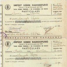 "Facturas antiguas: 1937 GENERALITAT CATALUNYA,""IMPOST SOBRE RADIODIFUSIÓ"" OCTUBRE, NOVEMBRE, DESEMBRE (SANCIÓN RECARGO). Lote 221541007"