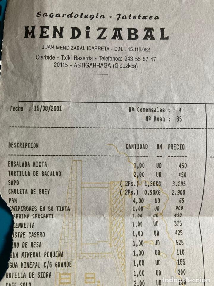 Facturas antiguas: Factura/ticket Sidrería Mendizabal año 2001 - Foto 2 - 221579698