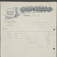 Facturas antiguas: FACTURA. VICENTE ALEIXANDRE. ALMACEN BISUTERÍA, QUINCALLA Y ABANICOS. MADRID. ESPAÑA 1917. Lote 221708192