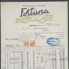 Facturas antiguas: FACTURA. ALFONSO RAMOS MORALES. MANUFACTURAS FORTUNA. FÁBRICA ARTÍCULOS PIEL. UBRIQUE. ESPAÑA 1948. Lote 221708386