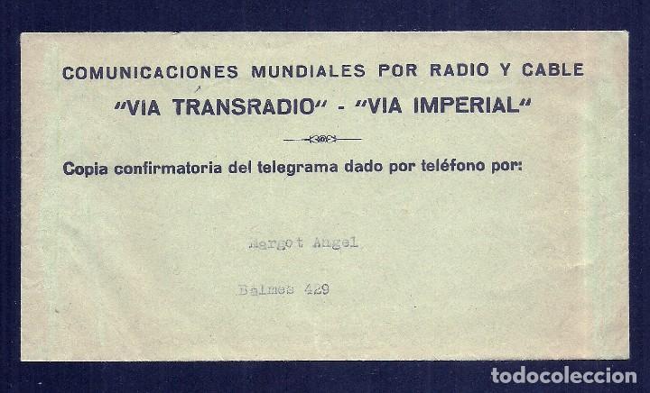 L35-33 TELEGRAMAS VIATRANSRADIO ESPAÑOLA PARA TODO EL MUNDO. (Coleccionismo - Documentos - Facturas Antiguas)