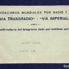 Facturas antiguas: L35-33 TELEGRAMAS VIATRANSRADIO ESPAÑOLA PARA TODO EL MUNDO.. Lote 221730915