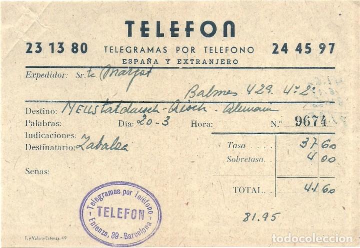 Facturas antiguas: L35-33 Telegramas VIATRANSRADIO ESPAÑOLA para todo el mundo. - Foto 4 - 221730915