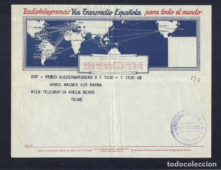 Facturas antiguas: L35-33 Telegramas VIATRANSRADIO ESPAÑOLA para todo el mundo. - Foto 5 - 221730915