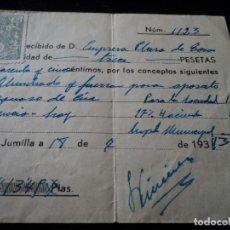 Facturas antiguas: RECIBO DE ALUMBRADO Y FUERZA PARA APARATO SONORO DE CINE, EMPRESA PLAZA DE TOROS JUMILLA 1936. Lote 221994945
