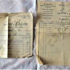 Facturas antiguas: LOTE 4 FACTURAS DE VILLARREAL (CASTELLÓN) DE DOS EMPRESAS AÑO 1922 EL RÁPIDO Y JOSÉ LATORRE. Lote 222024895