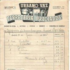 Facturas antiguas: URBANO VAZ. FERRETERÍA PRECIADOS 12 JUNIO 1946. Lote 222068896