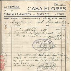 Facturas antiguas: CASA FLORES 5 ABRIL 1946.. Lote 222068967