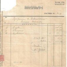 Facturas antiguas: SUCURSAL Nº 1. 12 JUNIO 1946. Lote 222069026