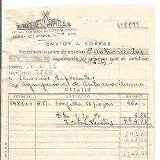 Facturas antiguas: ALMACENES CAPITEL. JUNIO 1946. Lote 222069091
