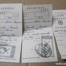 Facturas antiguas: 2 RESGUARDOS GIROS POSTALES 1953 SELLOS + TALON. Lote 222089386