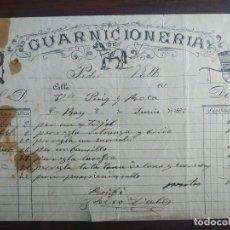 Facturas antiguas: FACTURA COMERCIAL 1897, GUARNICIONERÍA DE CABALLOS, PEDRO VALLS, EN SANT BOI DE LLOBREGAT,. Lote 222096363