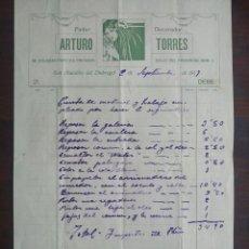 Facturas antiguas: FACTURA 1917 DEL PINTOR DECORADOR ARTURO TORRES DE SANT BOI DE LLOBREGAT,. Lote 222098003