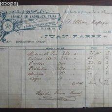 Facturas antiguas: FACTURA 1903 FABRICA DE LADRILLOS, TEJAS DE JUAN FARRE EN SANT BOI DE LLOBREGAT.. Lote 222098430
