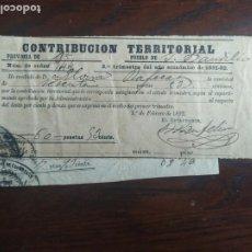 Facturas antiguas: RECIBO DE PAGO 1892 CONTRIBUCION TERRITORIAL DEL AYUNTAMIENTO DE SANT BOI DE LLOBREGAT. Lote 222099602