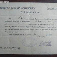 Facturas antiguas: RECIBO 1934 DE COMPRA DE POLISULTAFOS USO AGRÍCOLA AL MUNICIPIO DE SANT BOI DE LLOBREGAT. Lote 222100457