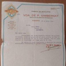 Facturas antiguas: FACTURA FABRICA DE BICICLETAS VDA. DE P.GIMBERNAT FIGUERAS (GIRONA)1934 MARCA GIMSON. Lote 222115333