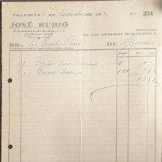 Facturas antiguas: FACTURA. JOSÉ RUBIÓ. DROGUERÍA. VALENCIA. ESPAÑA 1930. Lote 222340103