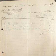 Facturas antiguas: FACTURA. JOSÉ RUBIÓ. DROGUERÍA. VALENCIA. ESPAÑA 1930. Lote 222340202