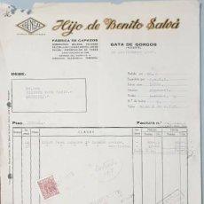Facturas antiguas: FACTURA. HIJO DE BENITO SALVÁ. FÁBRICA DE CAPAZOS. ALICANTE. ESPAÑA 1948. Lote 222826255