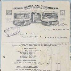 Facturas antiguas: FACTURA. GEORG BENDA A.G. NUREMBERG. FÁBRICA DE PURPURINAS. BAVIERA. ALEMANIA 1928. Lote 222826501
