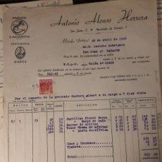 Facturas antiguas: ANTONIO ALONSO HERRERA MERIDA BADAJOZ.. Lote 222832060