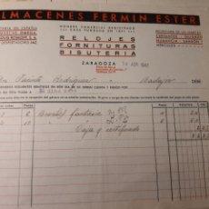 Facturas antiguas: ALMACENES FERMIN ESTER ZARAGOZA. Lote 222832617