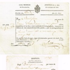 Facturas antiguas: 1843 1844 2 ANTIGUOS RECIBOS CASA HOSPICIO DE SALAMANCA ARBITRIO EN CANTARO DE VINO - 17 MARADEVIES. Lote 223222017