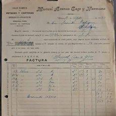 Factures anciennes: FACTURA. MANUEL ARENAS GAGO Y HERMANO. GRAN FÁBRICA DE PETACAS Y CARTERAS. UBRIQUE. ESPAÑA 1923. Lote 223912627