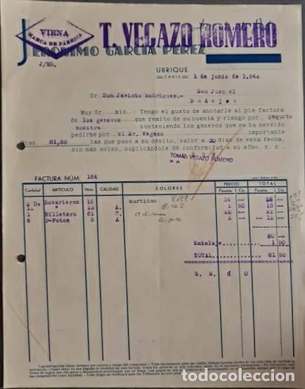 FACTURA. JERÓNIMO GARCÍA PÉREZ. T. VEGAZO ROMERO. ARTÍCULOS PIEL. UBRIQUE. ESPAÑA 1940 (Coleccionismo - Documentos - Facturas Antiguas)
