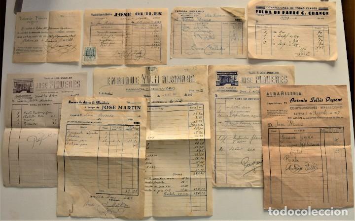 LOTE 9 FACTURAS Y RECIBOS DE 8 CABECERAS DIFERENTES DE JÁTIVA (VALENCIA) AÑOS 40 Y 50 (Coleccionismo - Documentos - Facturas Antiguas)