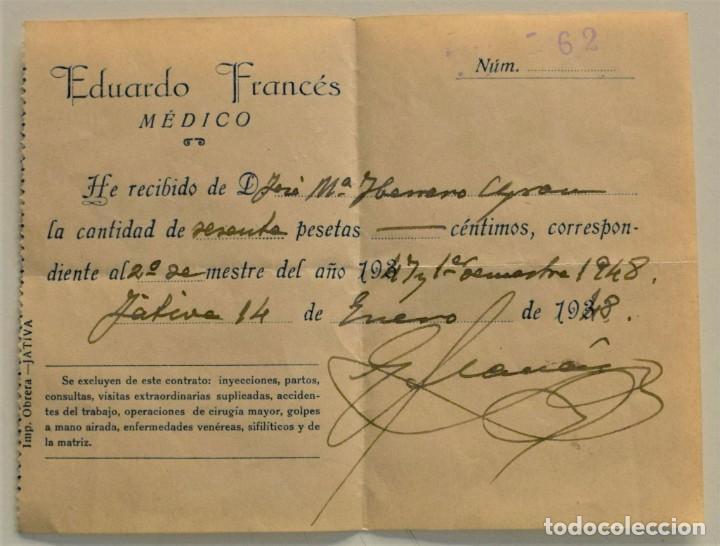 Facturas antiguas: LOTE 9 FACTURAS Y RECIBOS DE 8 CABECERAS DIFERENTES DE JÁTIVA (VALENCIA) AÑOS 40 Y 50 - Foto 2 - 224469351