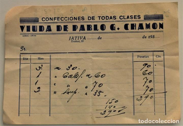 Facturas antiguas: LOTE 9 FACTURAS Y RECIBOS DE 8 CABECERAS DIFERENTES DE JÁTIVA (VALENCIA) AÑOS 40 Y 50 - Foto 5 - 224469351