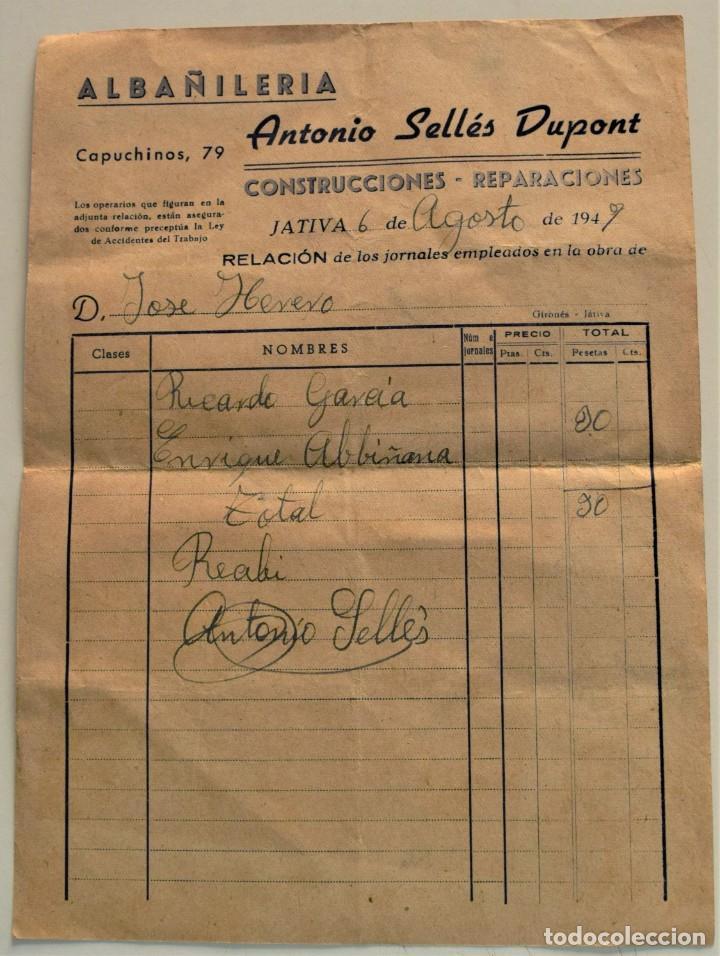 Facturas antiguas: LOTE 9 FACTURAS Y RECIBOS DE 8 CABECERAS DIFERENTES DE JÁTIVA (VALENCIA) AÑOS 40 Y 50 - Foto 7 - 224469351