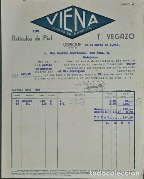 FACTURA. T. VEGAZO. VIENA MARCA DE FÁBRICA. ARTÍCULOS DE PIEL. UBRIQUE. ESPAÑA 1941 (Coleccionismo - Documentos - Facturas Antiguas)