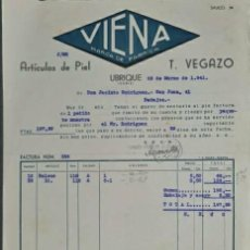 Factures anciennes: FACTURA. T. VEGAZO. VIENA MARCA DE FÁBRICA. ARTÍCULOS DE PIEL. UBRIQUE. ESPAÑA 1941. Lote 225059750