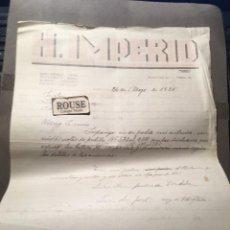 Faturas antigas: HOTELES / RESTAURANTES - MARTOS - ANTIGUA FACTURA 1935 HOTEL IMPERIO C. DOLORES TORRES 35 PATIO ANDA. Lote 225125555