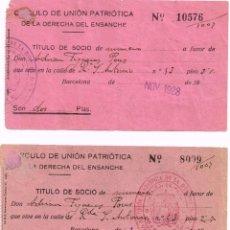 Facturas antiguas: 1928 SEPTIEMBRE Y NOVIEMBRE 2 TÍTULO DE SOCIO CÍRCULO DE UNIÓN PATRIÓTICA DE LA DERECHA DEL ENSANCHE. Lote 225345870