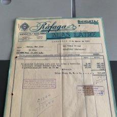 Facturas antiguas: BICICLETAS -RÁFAGA- BLAS LATRE. ZARAGOZA 1959. FACTURA +2 LETRAS. Lote 225543688