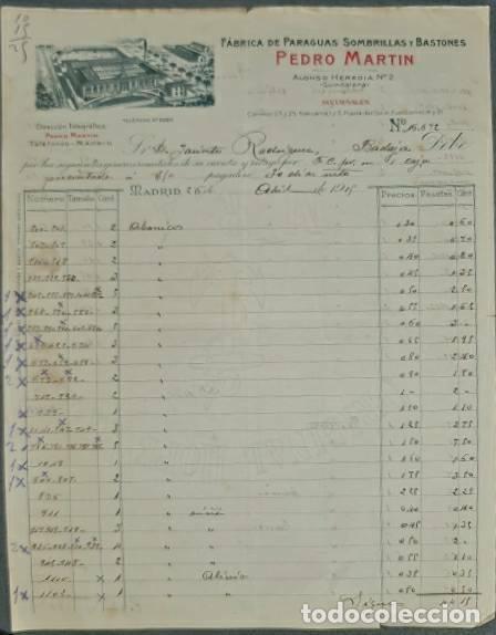 FACTURA. PEDRO MARTÍN. FÁBRICA DE PARAGUAS, SOMBRILLAS Y BASTONES. BARCELONA. ESPAÑA 1915 (Coleccionismo - Documentos - Facturas Antiguas)